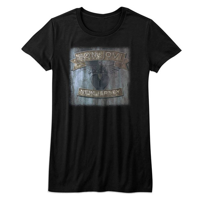 Bon Jovi New Jersey Black Junior Women's T-Shirt
