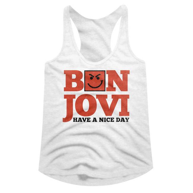 Bon Jovi Have A Nice Day White Junior Women's Racerback Tank Top T-Shirt