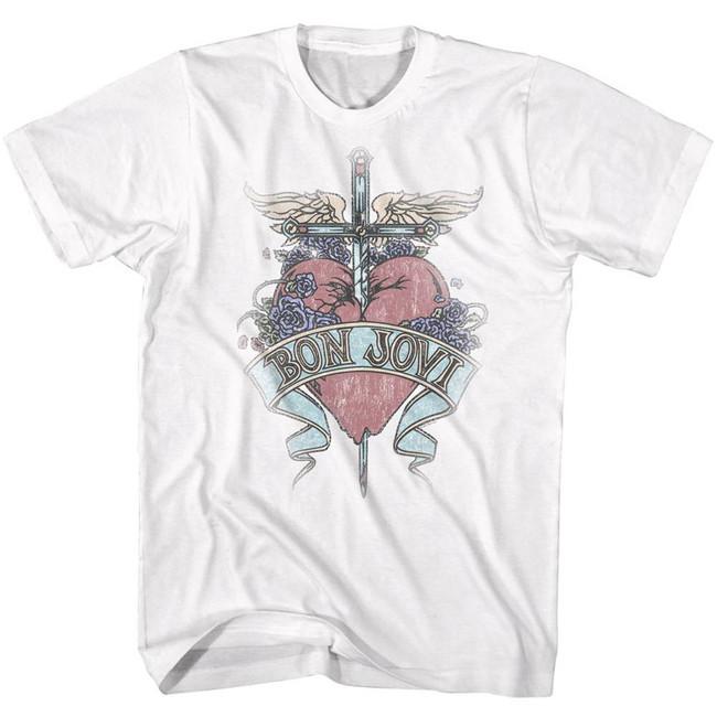 Bon Jovi Pierced White Adult T-Shirt