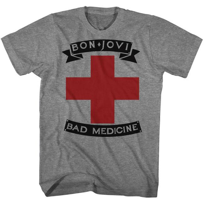 Bon Jovi Bad Medicine Heather Adult T-Shirt