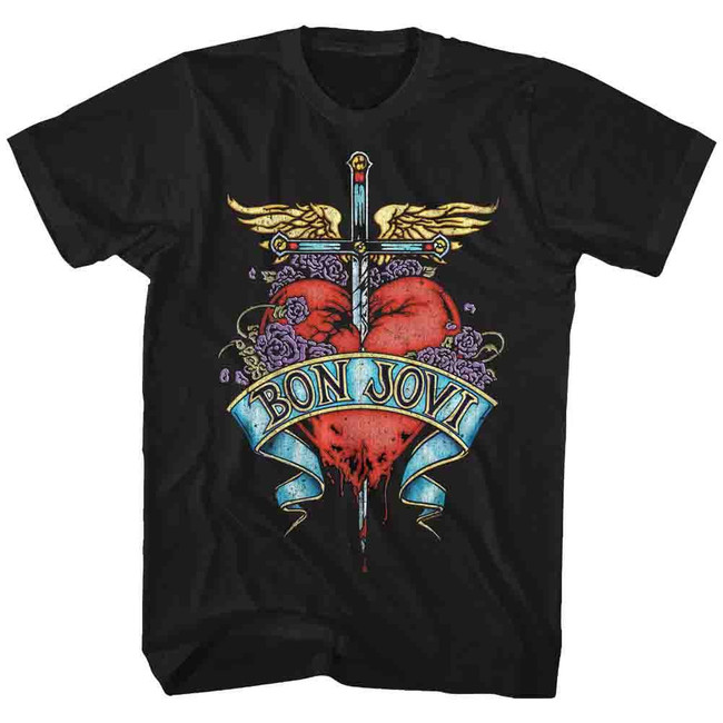 Bon Jovi Heart Black Adult T-Shirt