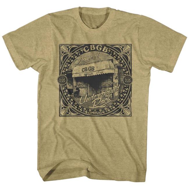 CBGB Underground Rock Khaki Heather Adult T-Shirt