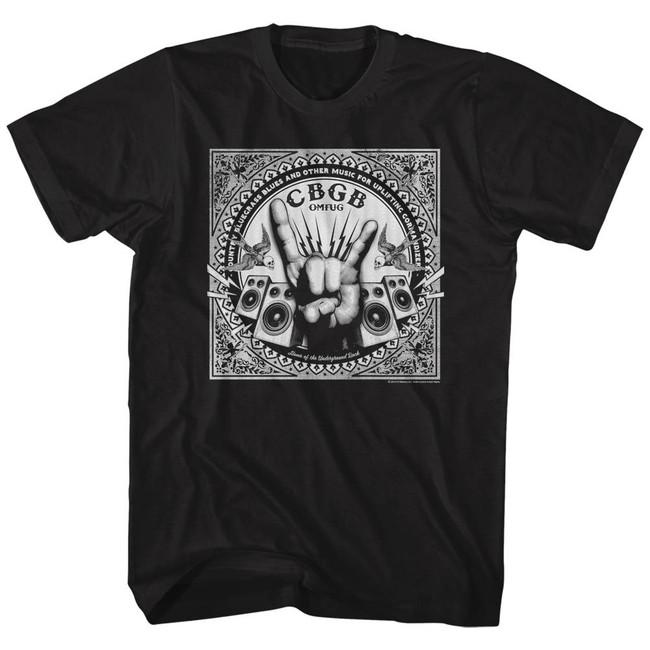 CBGB Rock Hand Black Adult T-Shirt
