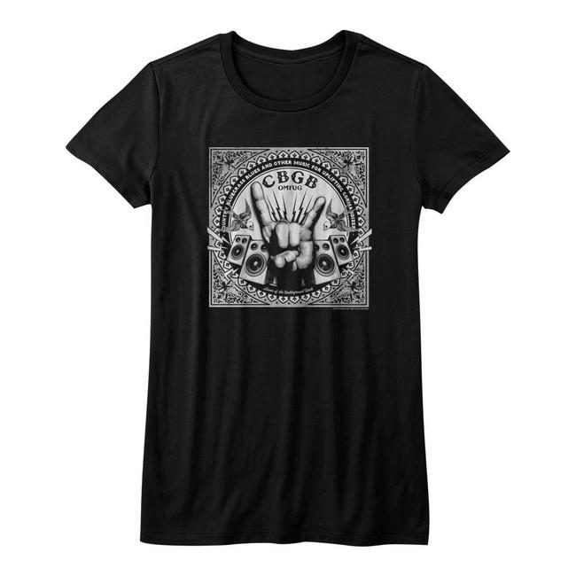CBGB Rock Hand Black Junior Women's T-Shirt