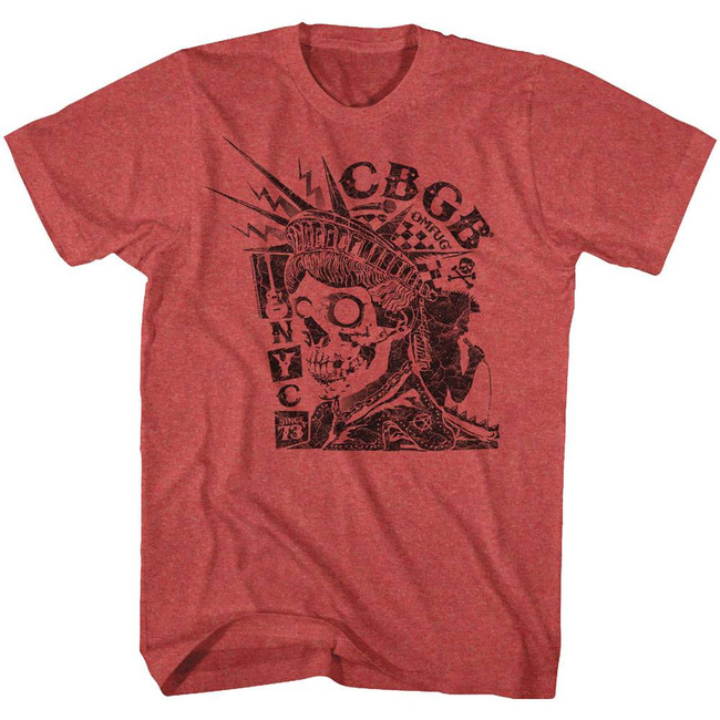CBGB NYC Since '73 Red Heather Adult T-Shirt