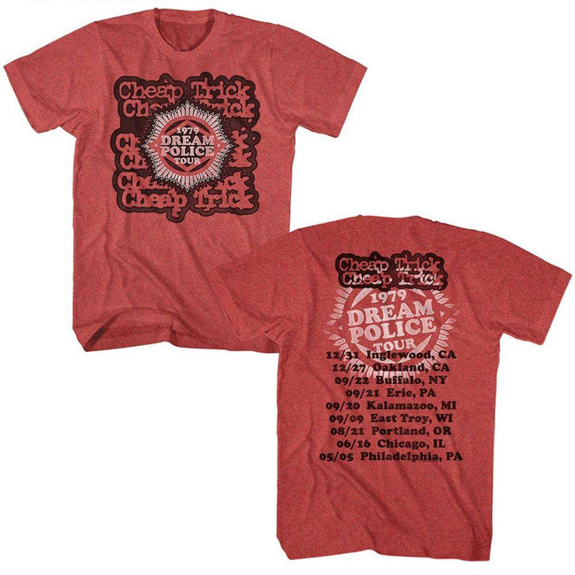 Cheap Trick Dream Police Tour Red Adult T-Shirt