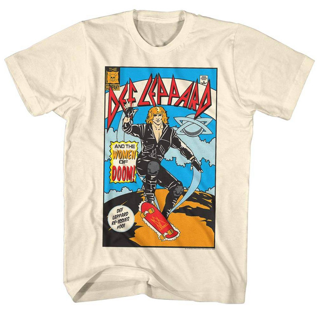 Def Leppard Comic Natural Adult T-Shirt