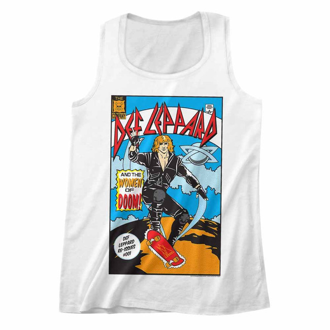 Def Leppard Comic White Adult Tank Top T-Shirt