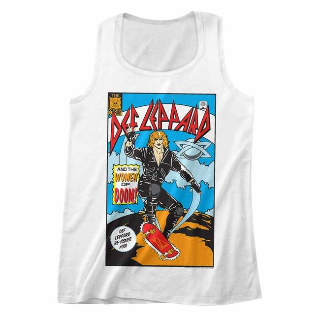 Def Leppard Comic White Adult Tank Top T-Shirt