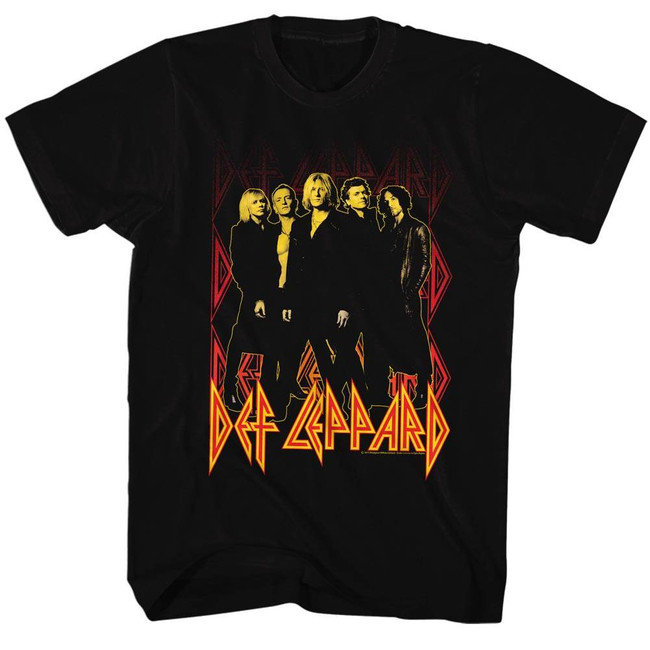 Def Leppard On Fire Black Adult T-Shirt