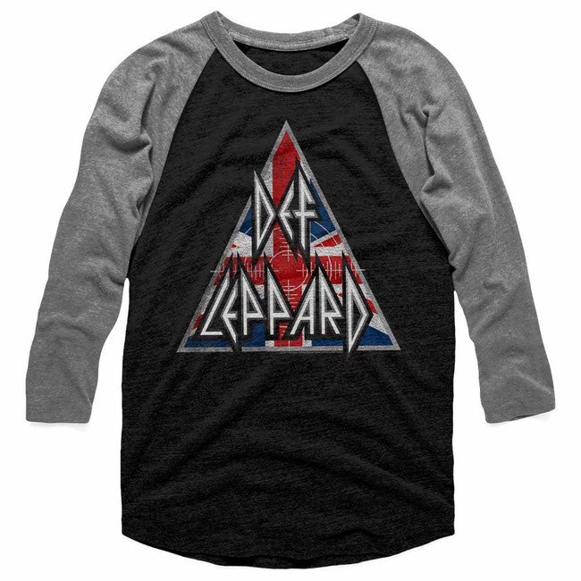 Def Leppard British Logo Vintage Black/Heather Adult Raglan Baseball T-Shirt