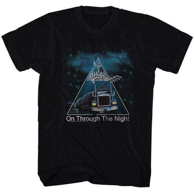 Def Leppard On Through The Night Black Adult T-Shirt