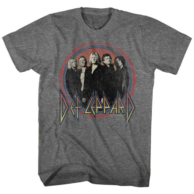 Def Leppard Circles Heather Adult T-Shirt