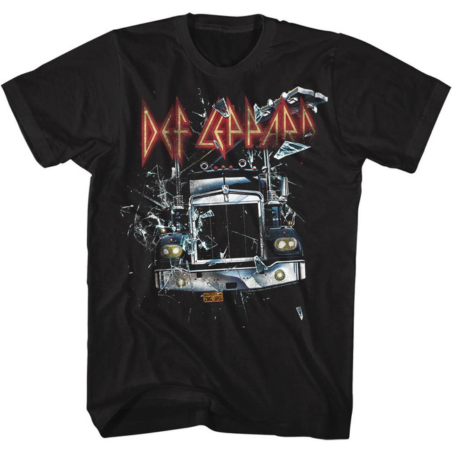 Def Leppard On Through The Glass Black Adult T-Shirt