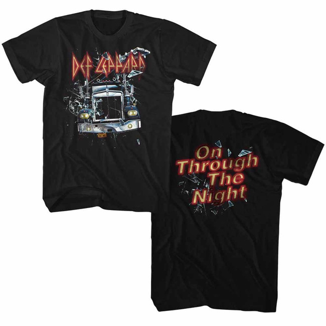 Def Leppard On Through The Night Truck Black Adult T-Shirt