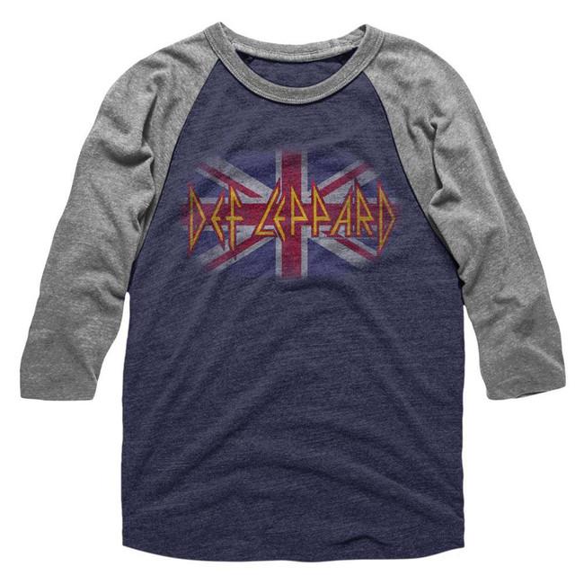Def Leppard Flag Blue/Heather Adult Raglan Baseball T-Shirt