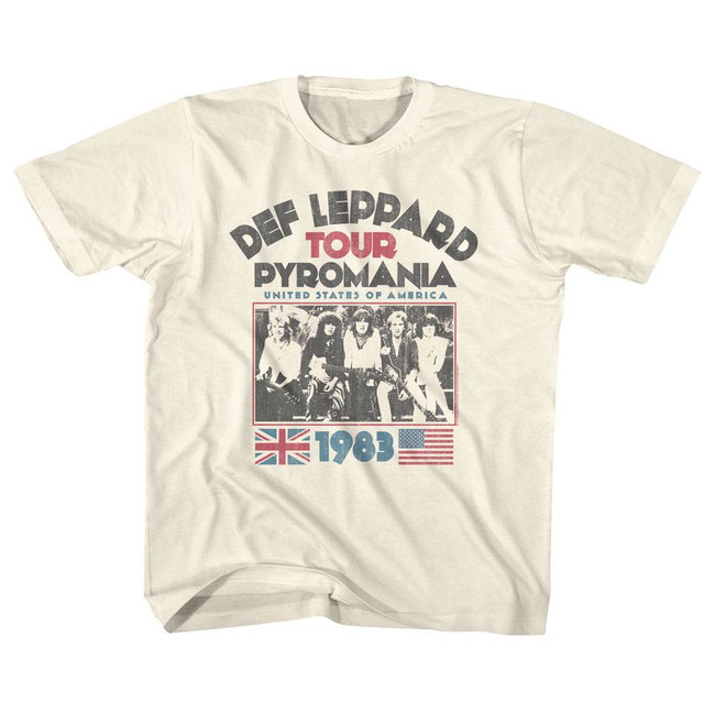Def Leppard Pyromania Tour Natural Youth T-Shirt