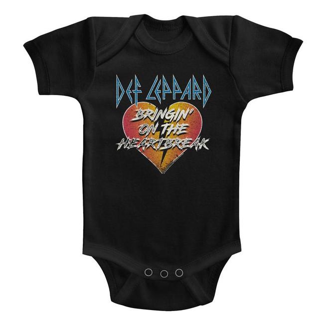Def Leppard Bringin' On The Heartbreak Black Baby Onesie T-Shirt