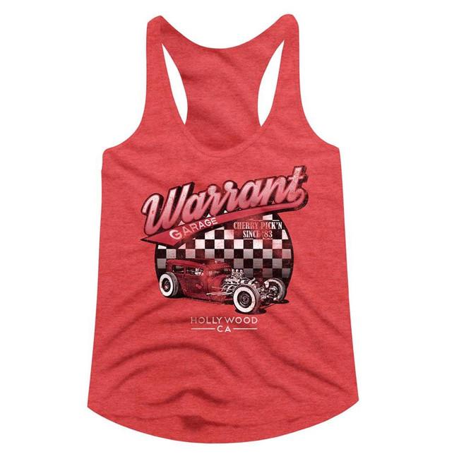 Warrant Garage Red Heather Junior Women's Racerback Tank Top