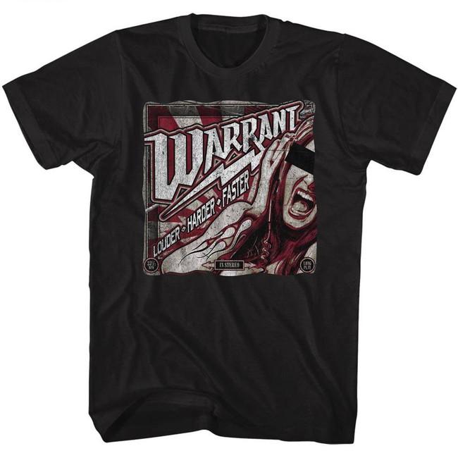 Warrant Louder Harder Faster Black Adult T-Shirt