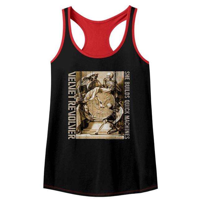 Velvet Revolver Quick Machines Black/Red Junior Women's Racerback Tank Top