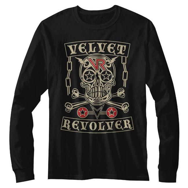 Velvet Revolver Velvet Skull Black Adult Long Sleeve T-Shirt