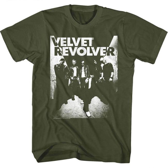 Velvet Revolver Velvet Skull Military Green Adult T-Shirt