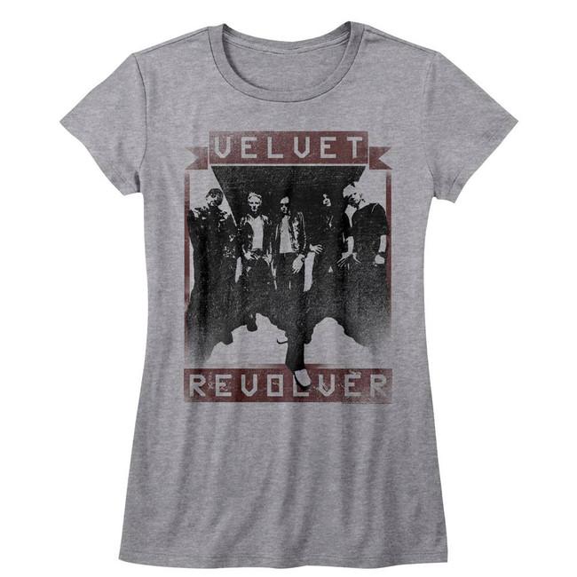 Velvet Revolver Velvet R Gray Heather Junior Women's T-Shirt