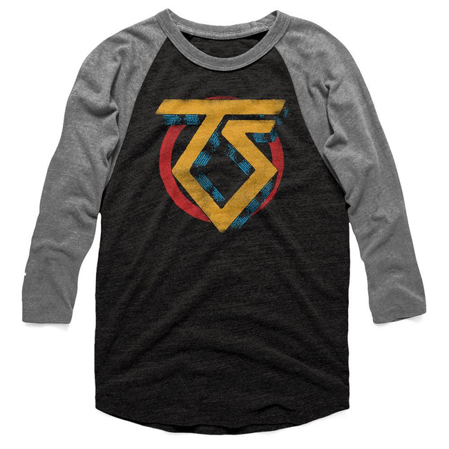 Twisted Sister Vintage TS Logo Vintage Black/Premium Heather Raglan T-Shirt