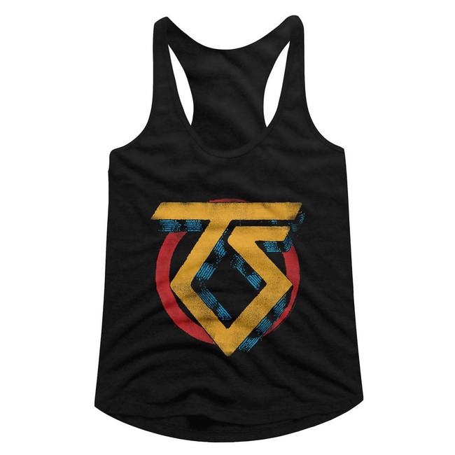 Twisted Sister Vintage TS Logo Black Junior Women's Racerback Tank Top