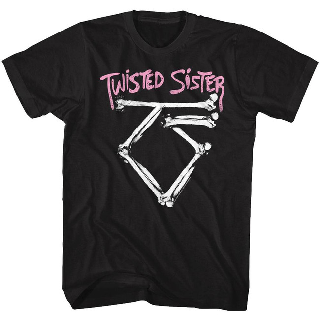 Twisted Sister Bone Logo Black Adult T-Shirt