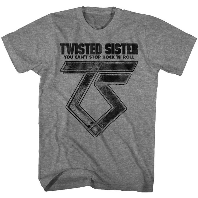 Twisted Sister Can't Stop Rock'N'Roll Graphite Heather Adult T-Shirt