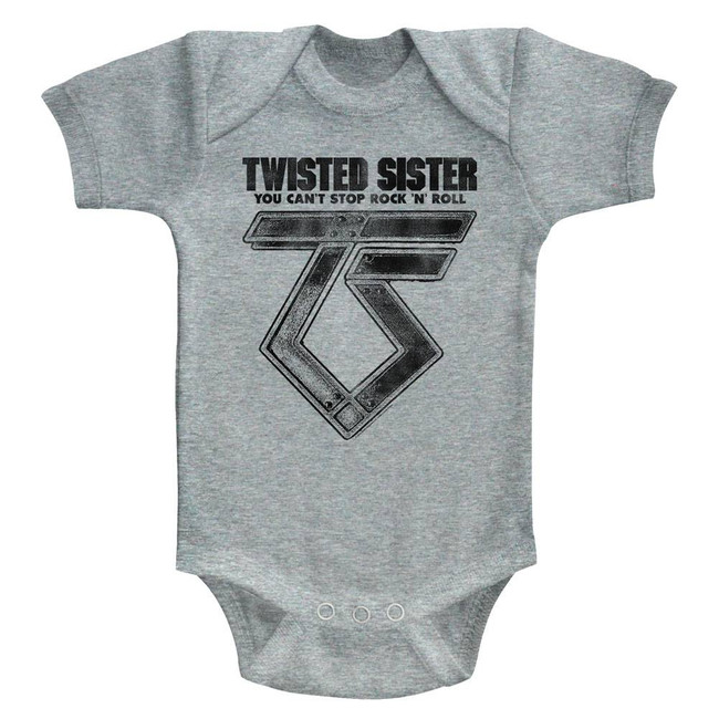 Twisted Sister Can't Stop Rock'N'Roll Gray Heather Infant Baby Onesie