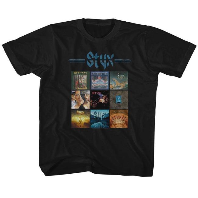 Styx Album Grid Black Children's T-Shirt