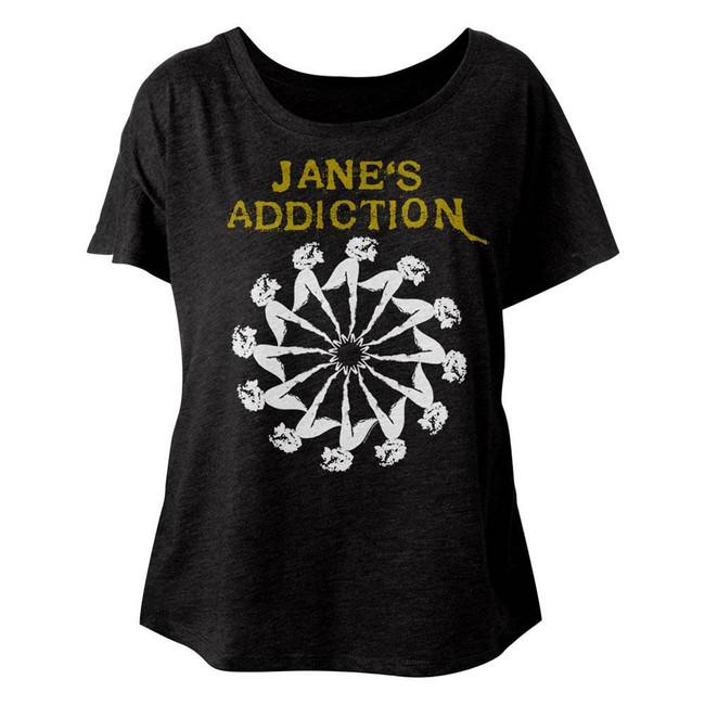 Jane's Addiction Lady Wheel Vintage Black Junior Women's Dolman T-Shirt