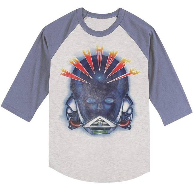 Journey Alien Head Heather/Blue Adult Baseball Raglan T-Shirt