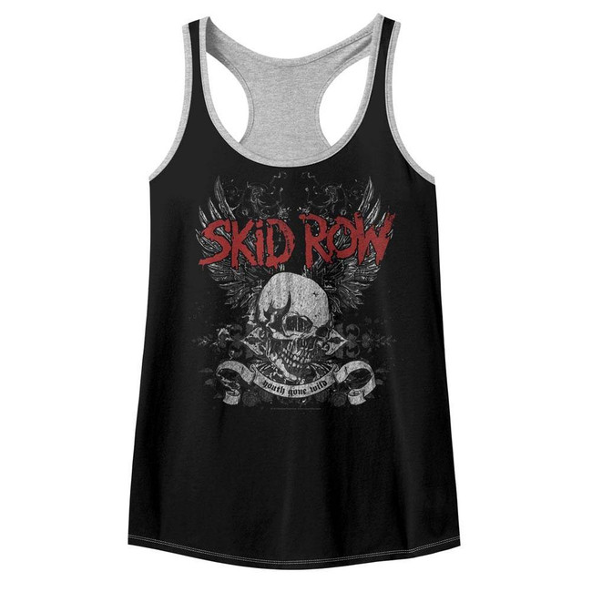 Skid Row Skull and Wings Black/Gray Heather Junior Women's Color Block Racerback Tank Top