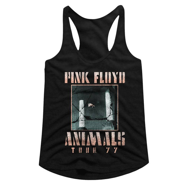 Pink Floyd Animals Tour '77 Black Junior Women's Racerback Tank Top T-Shirt