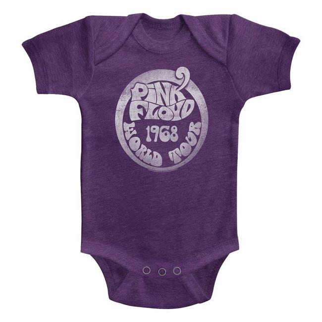 Pink Floyd 1968 World Tour Vintage Purple Infant S/S Heather Bodysuit-12M