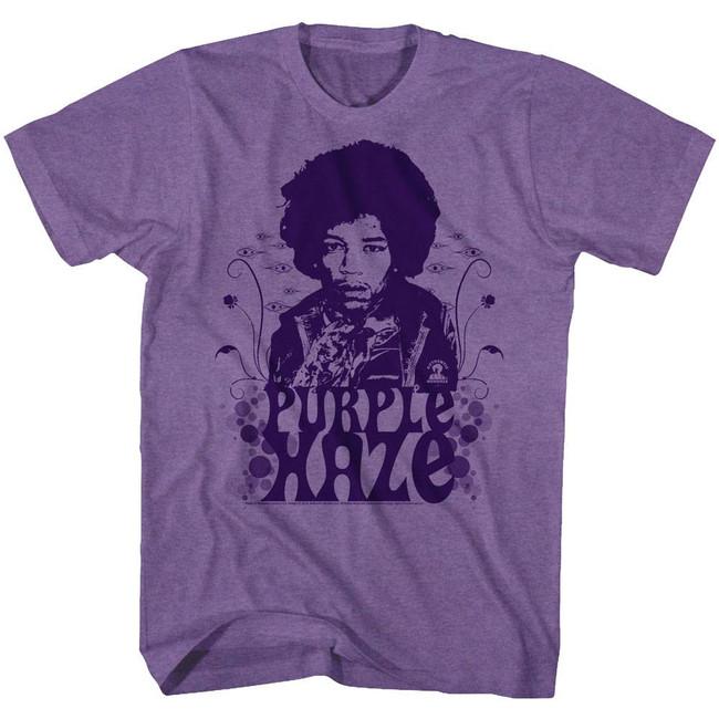 Jimi Hendrix Purple Haze Purple Heather Adult T-Shirt
