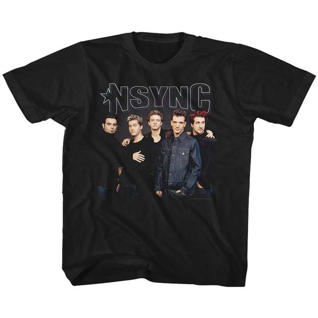 NSYNC Stark Group Shot Black Youth T-Shirt