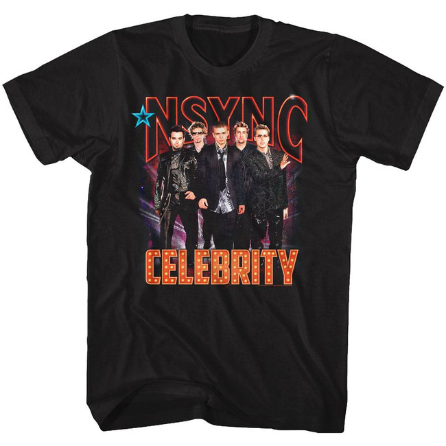NSYNC Celebrity Black Adult T-Shirt