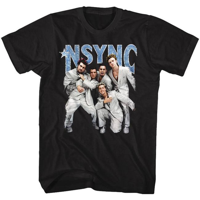 NSYNC Strike A Pose Black Adult T-Shirt