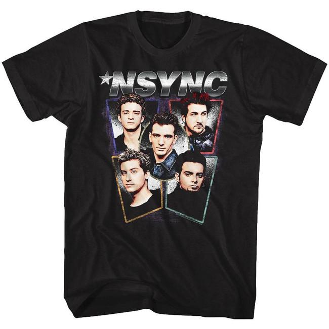 NSYNC Heads Black Adult T-Shirt