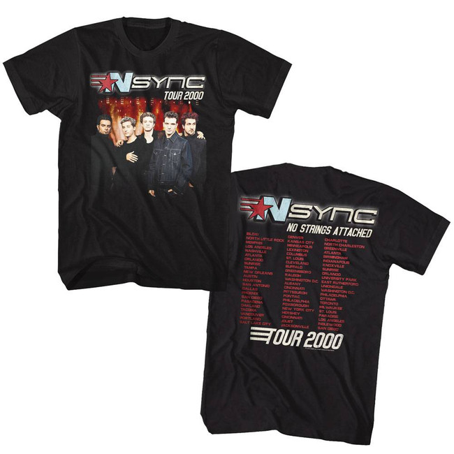 NSYNC 2000 Tour Black Adult T-Shirt