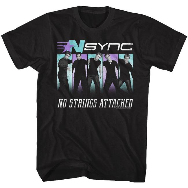 NSYNC No Strings Black Adult T-Shirt
