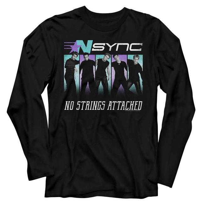 NSYNC No Strings Black Adult Long Sleeve T-Shirt