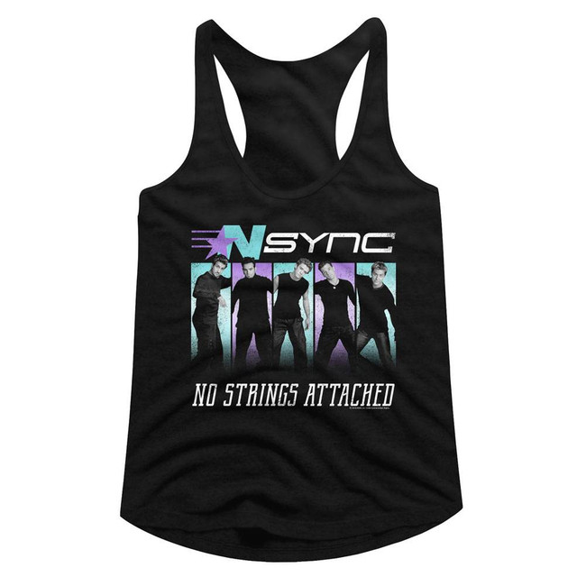 NSYNC No Strings Black Junior Women's Racerback Tank Top T-Shirt