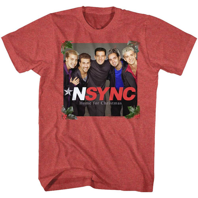NSYNC Home For Christmas Red Adult T-Shirt