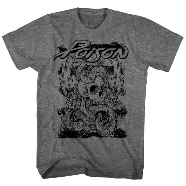 Poison Skull Snake Lightning Heather Adult T-Shirt